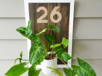 Upcycle timber offcuts to make a rustic house number sign