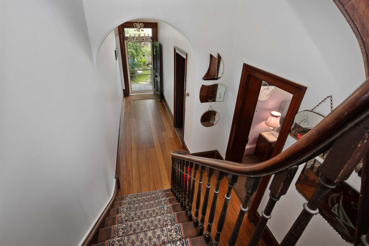 Heritage home staircase and hall Resene Double Sea Fog