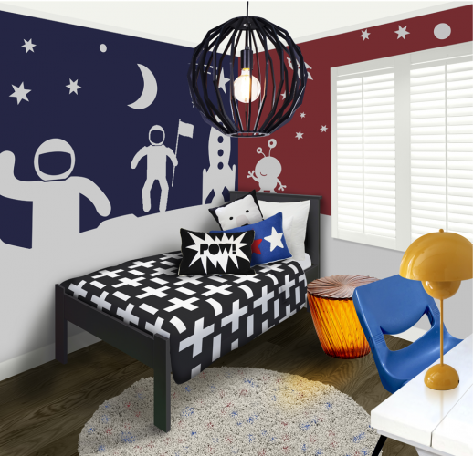 boys bedroom, decor ideas, stencils, creative interiors