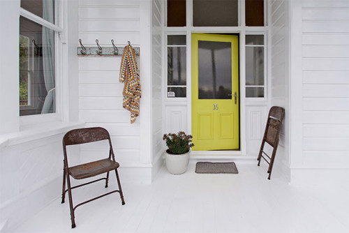 house exterior, exterior inspiration, green front door, colourful front door, white porch, porch,