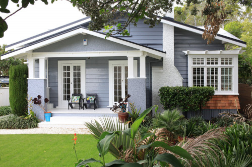 blue house, blue exterior, front entrance, garden, painted weatherboards, blue weatherboards