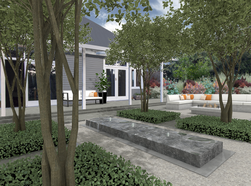 garden, outdoor fire, concrete seating, water feature,
