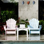 painted furniture, upcycled furniture, pool area, pink chair, blue chair, painted pool chairs