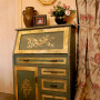 painted furniture, upcycled furniture, gold painted furniture, painted sideboard, French inspired