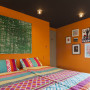 bedroom, orange bedroom, bright bedroom, colourful bedroom, black and orange