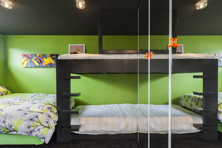 bedroom, green bedroom, bright bedroom, colourful bedroom, green and black, bunk beds