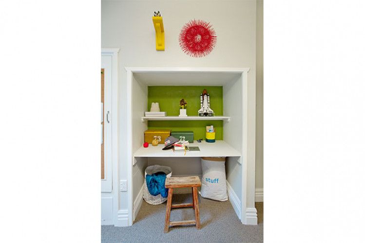 study nook, green study, green office, colourful office, colourful desk space, kids desk, children