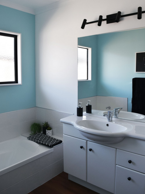 blue bathroom, bathroom renovation, resene morning glory