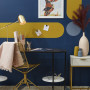 Blue office, yellow office, blue and yellow interiors, blue desk space, Warm office space, Resene
