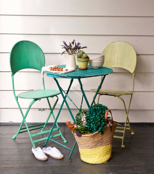 painted furniture, upcycled furniture, cafe inspired, French inspired, outdoor seating