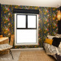 media room, sutdy, guest bedroom, feature wall, black study, wallpaper feature, lemur wallpaper