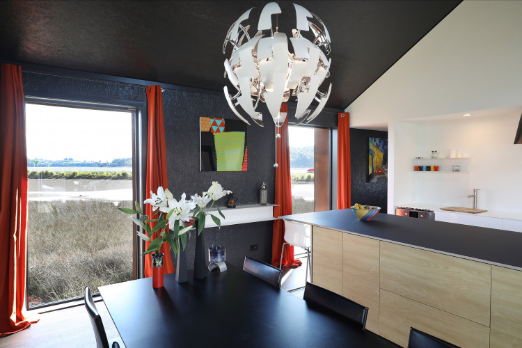 kitchen, dining room, black and white kitchen, black dining room, black interior, resene nocturnal