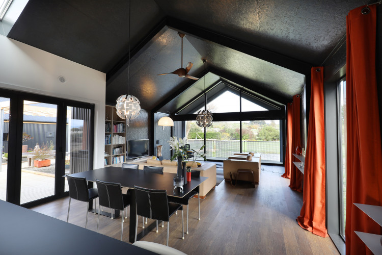 dining room, black dining room, black and white, black ceiling, resene nocturnal, black interior