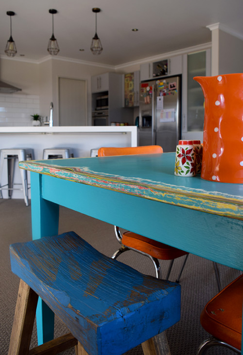 blue table, DIY, upcycling table