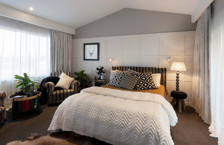 master bedroom, white bedroom, white and grey bedroom, paneled feature wall, neutrals