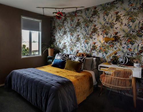 bedroom,. wallpaper feature wall, animal wallpaper, kids bedroom, childrens bedroom
