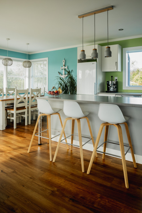 kitchen inspiration, dining room inspiration, blue interior ideas, open plan living ideas, resene