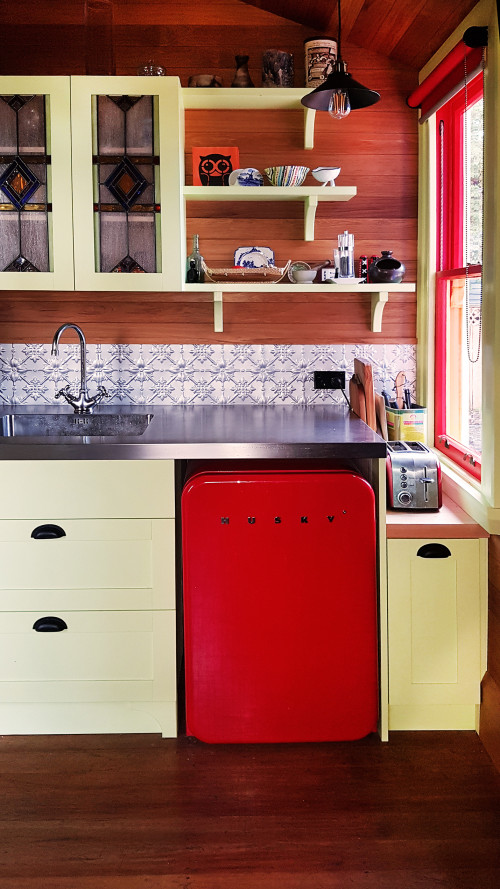 kitchen inspiration, kitchen ideas, kitchen design, green kitchen cabinets, red retro fridge, resene