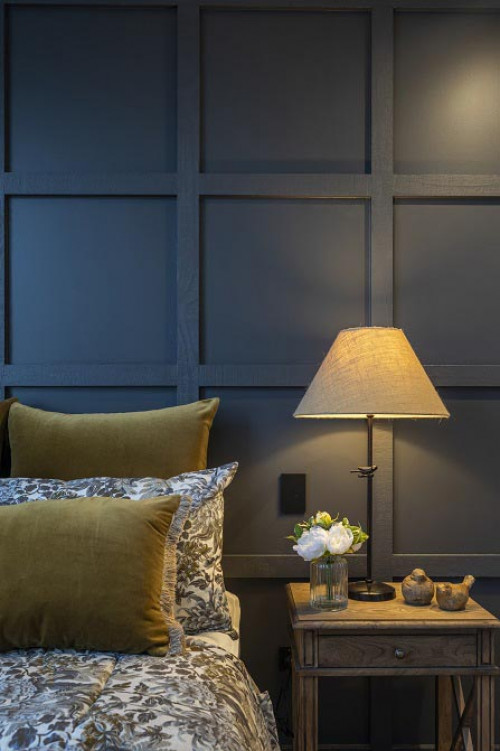 bedroom inspiration, charcoal interior, charcoal feature wall, grey interior, colour palette