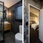 black and white bathroom, grey bathroom, patterned tiles, ensuite, black and white ensuite