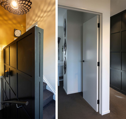 entranceway, stairwell, black and white, black entranceway, batten walls, resene double cod grey