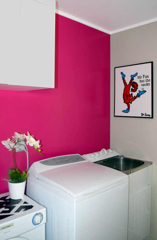 pink laundry, colour laundry, paint ideas, resene scrumptious