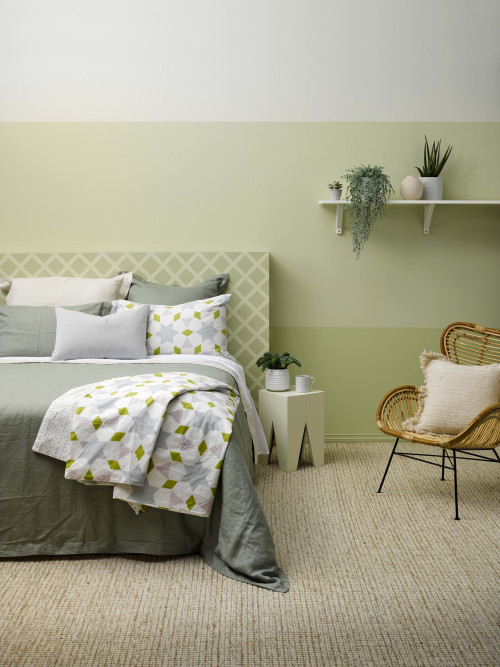 green bedroom, green feature wall, striped wall, green striped wall, green gradient wall