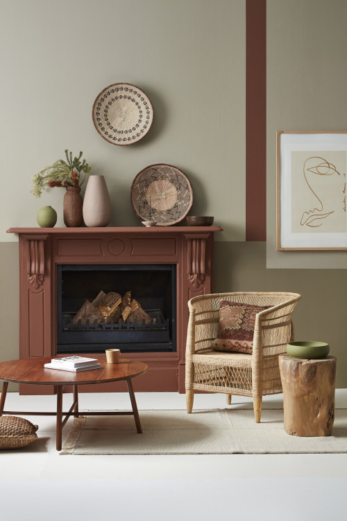 fireplace, living room, lounge, brown fireplace, brown living room, interior lines, feature wall