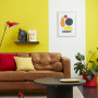 lounge, living room, yellow lounge, yellow living room, striped feature wall, yellow feature wall