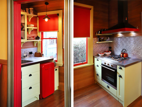 kitchen design, kitchen ideas, kitchen inspiration, retro kitchen, red kitchen ideas, green kitchen