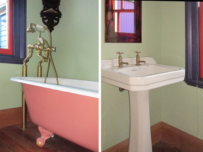 bathroom inspiration, bathroom ideas, green bathroom ideas, pink painted bath, pink clawfoot bath