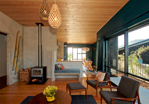 contemporary bach, modern cabin, contemporary cabin, modern cabin living, new zealand cabin