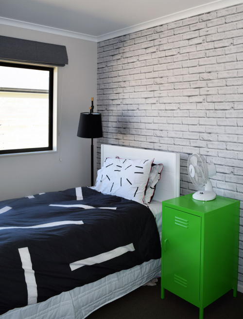 kids bedroom, childs bedroom, boys bedroom, brick wallpaper