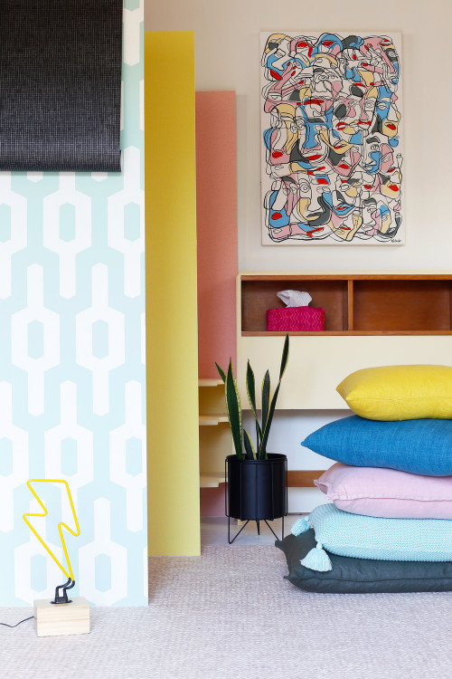 bedroom, retro bedroom, colourful bedroom, retro artwork, colourful accessories