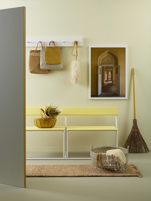entryway, yellow benchseat, browns and yellows, yellow entryway, brown entryway