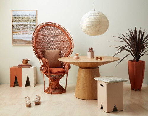 sitting room, terracotta chair, orange living, pink and terracotta, resene sunbaked
