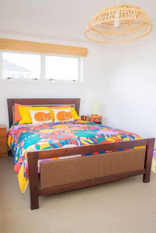 Colourful Bedroom, Bright Bedding, Retro Renovation, Retro Interiors