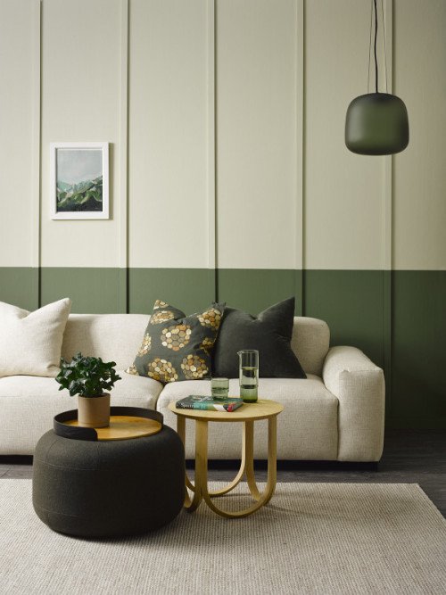 Two Toned Room, Green and Beige, Woodland, Green Interior