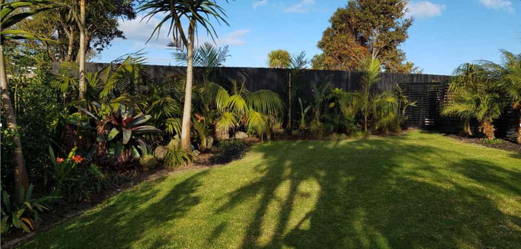 Tropical backyard, Black Fence, Resene Paint, Outdoor Paint,