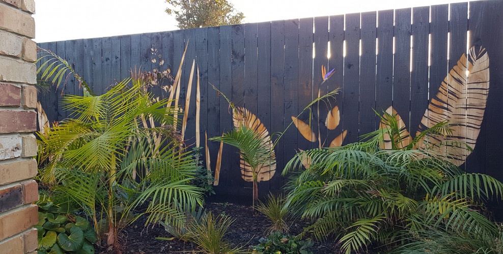 Resene Paint, Back Fence, Leaf Print, Stencil, Backyard
