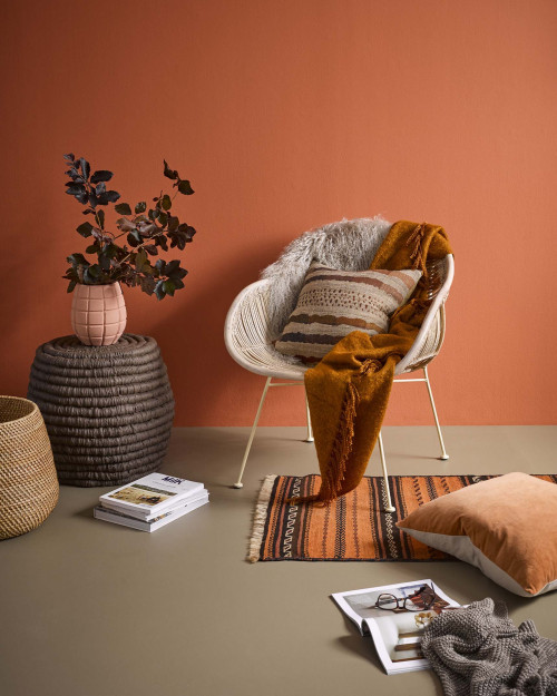 terracotta lounge orange walls