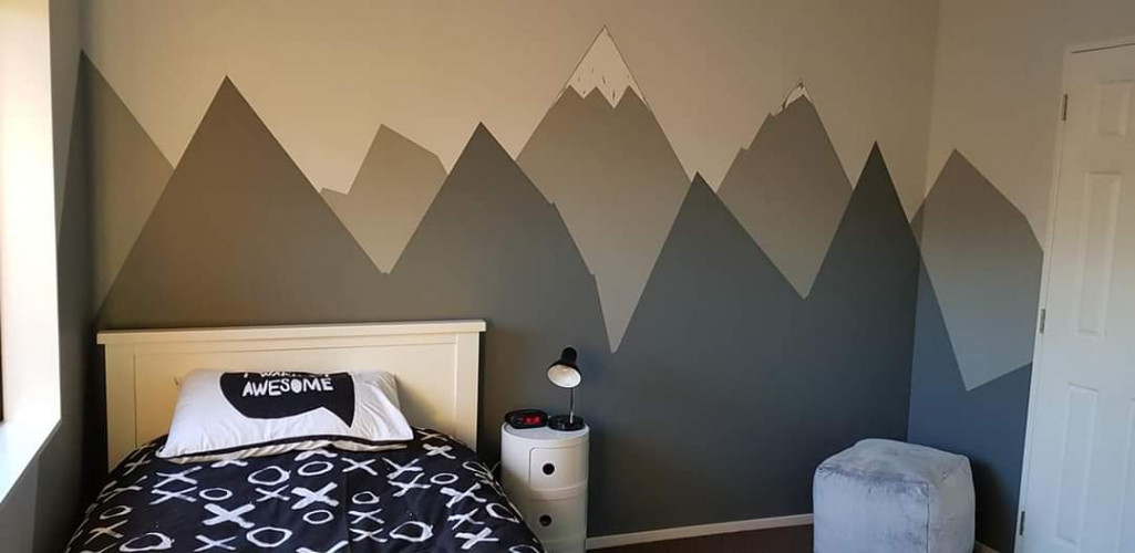 Alpine Mural, Grey Paint, Mountain Mural, Boys Bedroom, Resene Paint
