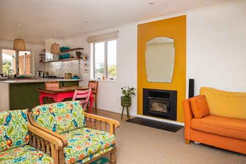 Yellow Fireplace, Yellow Interiors, Mustard Decor, Retro Renovation