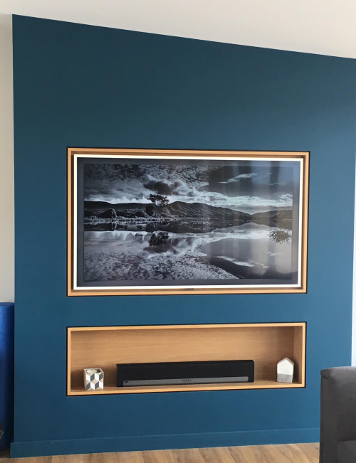 Resene Barometer blue feature wall