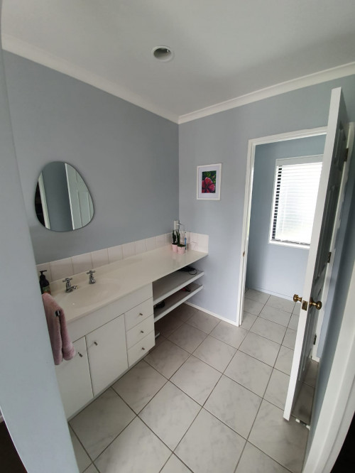 Bathroom Renovation, Ensuite Renovation, Blue Bathroom, Resene paint, Blue Grey