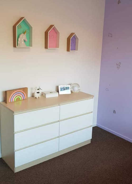 Girls Bedroom, Pink and Purple, Cubby boxes, Resene Paint, Kids bedroom