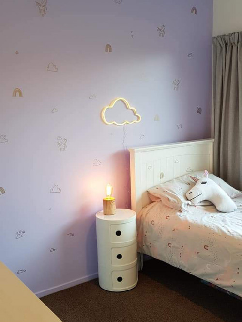 Kids Bedroom, Unicorn, Purple Paint, Purple Bedroom, metallic gold decals, Resene