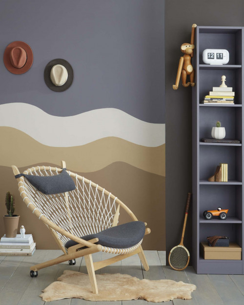Living room winter colours Resene mural wall wave
