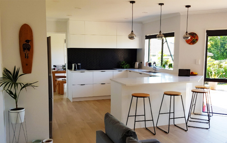 Black and White Kitchen, Kitchen Renovation, Resene Paint, Neutral Colours, Contemporary Kitchen