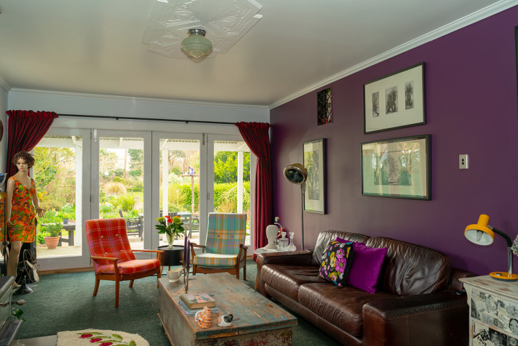 Purple Wall, Purple Interiors, Retro Interiors, Retro Furniture